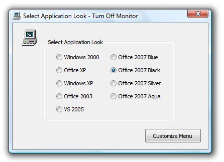 Dialog Box to allow user to change skin of Turn Off Monitor System Tray Menu