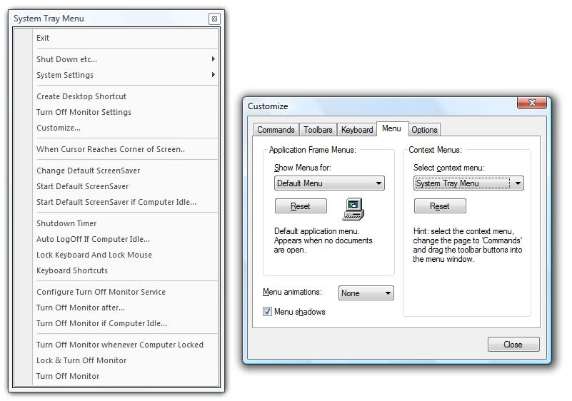 Customize Dialog Box to Customize Turn Off Monitor System Tray Menu