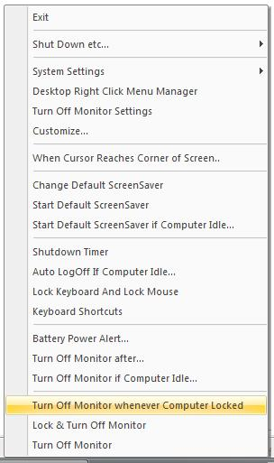 Screenshot of Complete Turn Off Monitor System Tray Menu