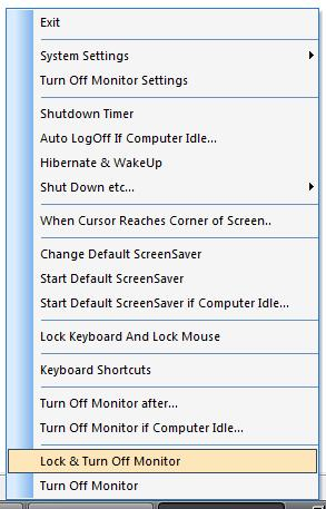 Turn Off Monitor System Tray Icon