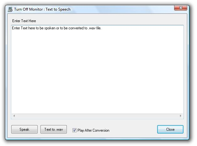 Screenshot of Text to Speech Dialog Box