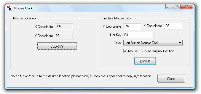 Main Screen of Mouse Click Software Download