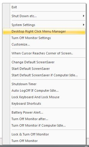 Full Turn Off Monitor System Tray Menu